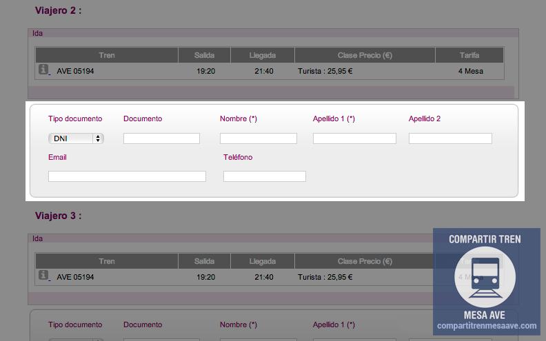 Al vender online billete para la Tarifa Mesa del AVE se deben incluir datos identificativos de todos los viajeros.