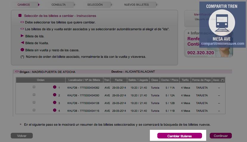 Hay que pinchar en el botón 'Cambiar titulares' para modificar los datos de los viajeros de los billetes online de AVE con Tarifa Mesa.