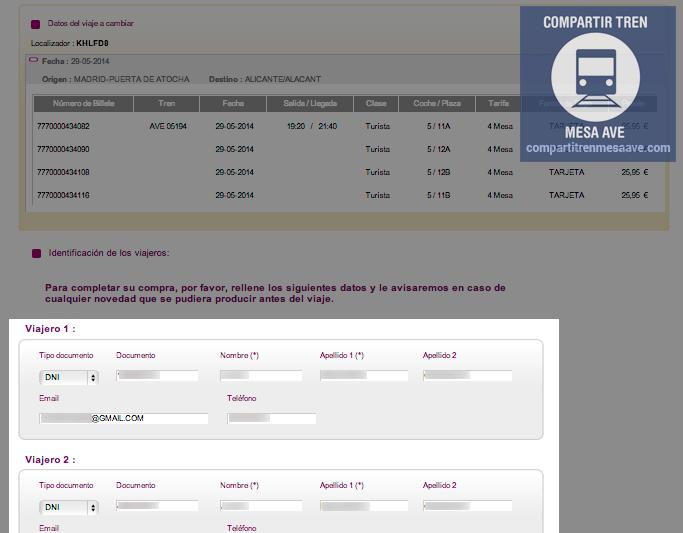 Modifica desde aquí los datos personales identificativos de los viajeros de AVE con Tarifa Mesa.