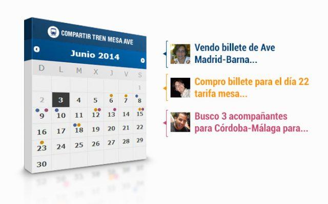 Detalle de los anuncios publicados en la aplicación de Facebook 'Compartir tren mesa AVE'.
