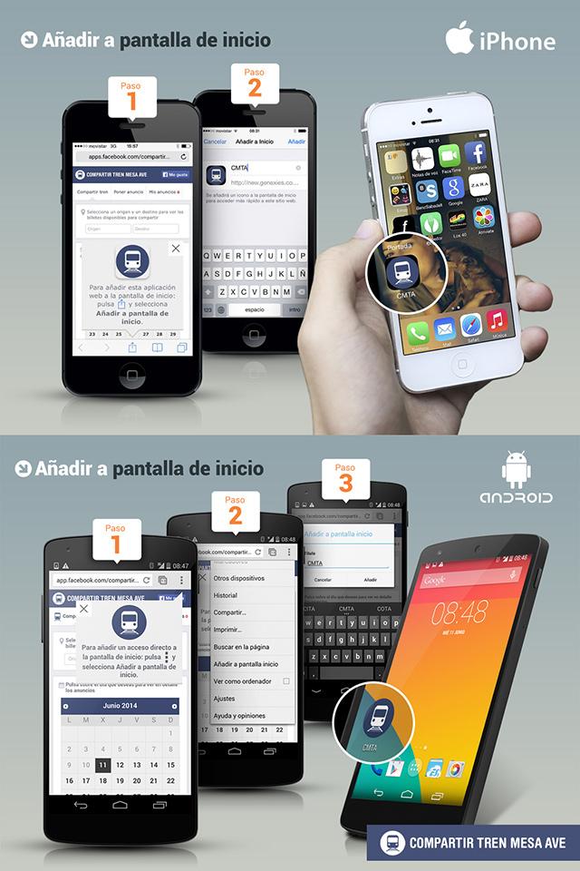 La app 'Compartir Tren Mesa AVE' permite añadir un acceso directo a la pantalla de inicio del teléfono móvil.