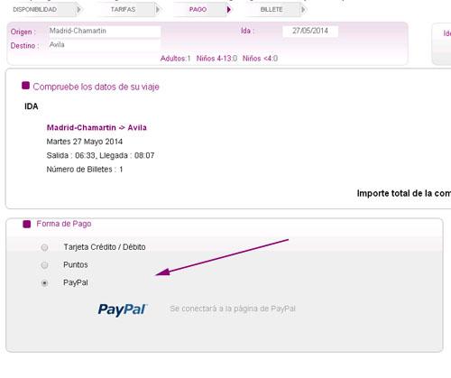 En esta pantalla del proceso de venta online puedes elegir pagar los billetes de tren con Paypal.