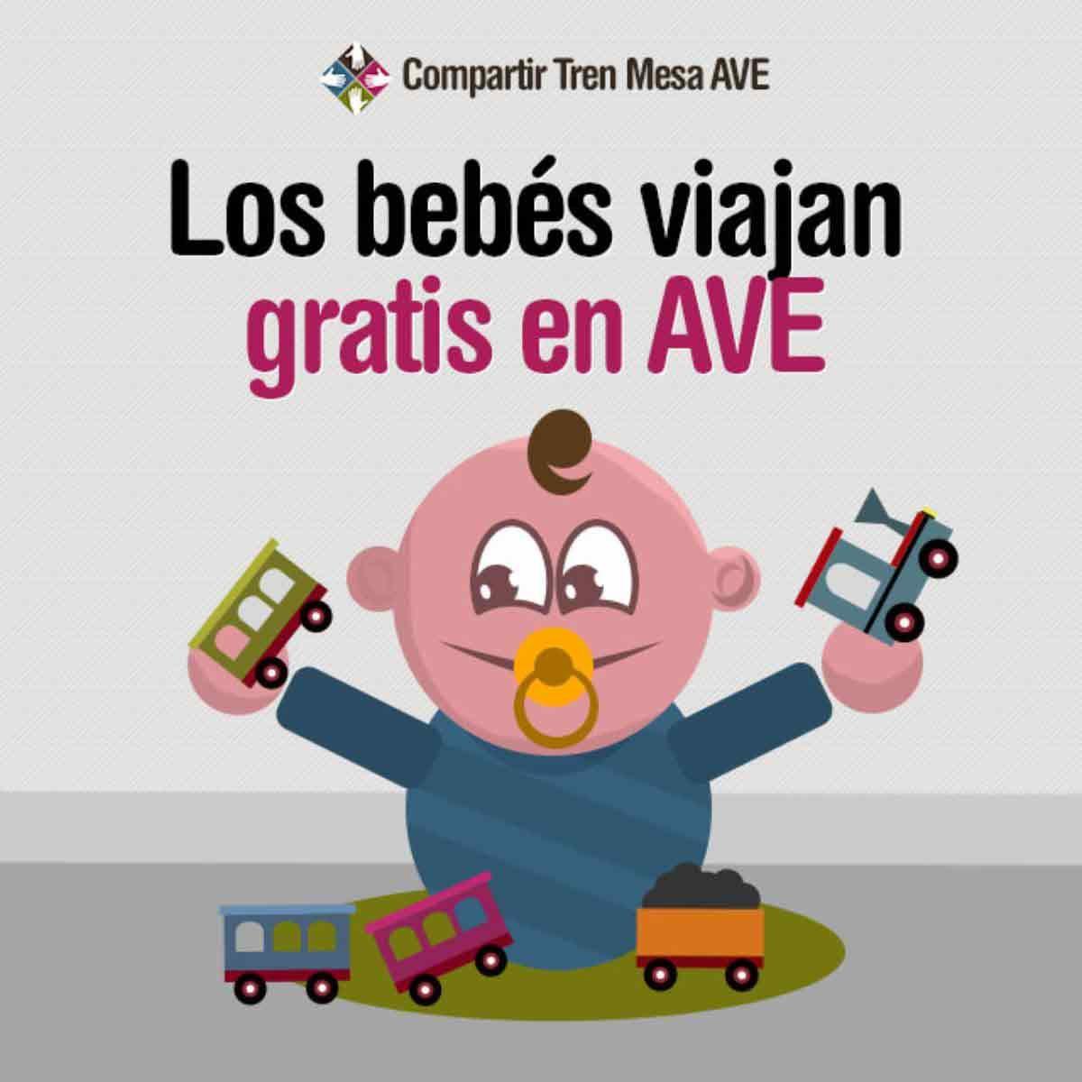 Viajar en AVE con niños menores de 4 años es gratis.