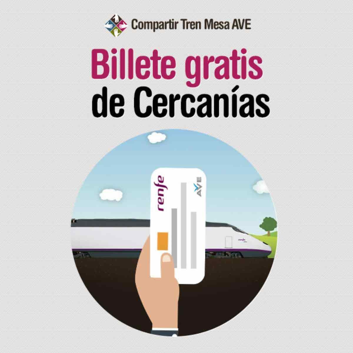 El billete de AVE incluye el uso gratuito de viajes en Cercanías.