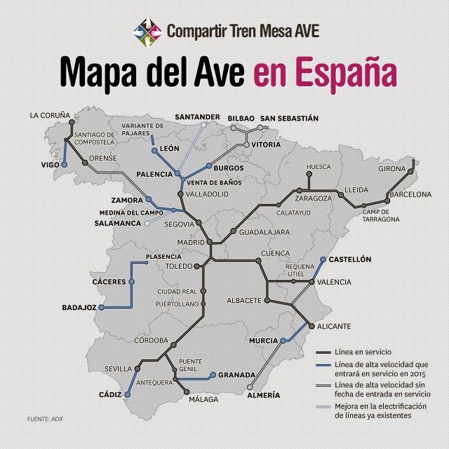 Nuevos destinos ave castell n c diz granada plasencia for Tarifa mesa ave
