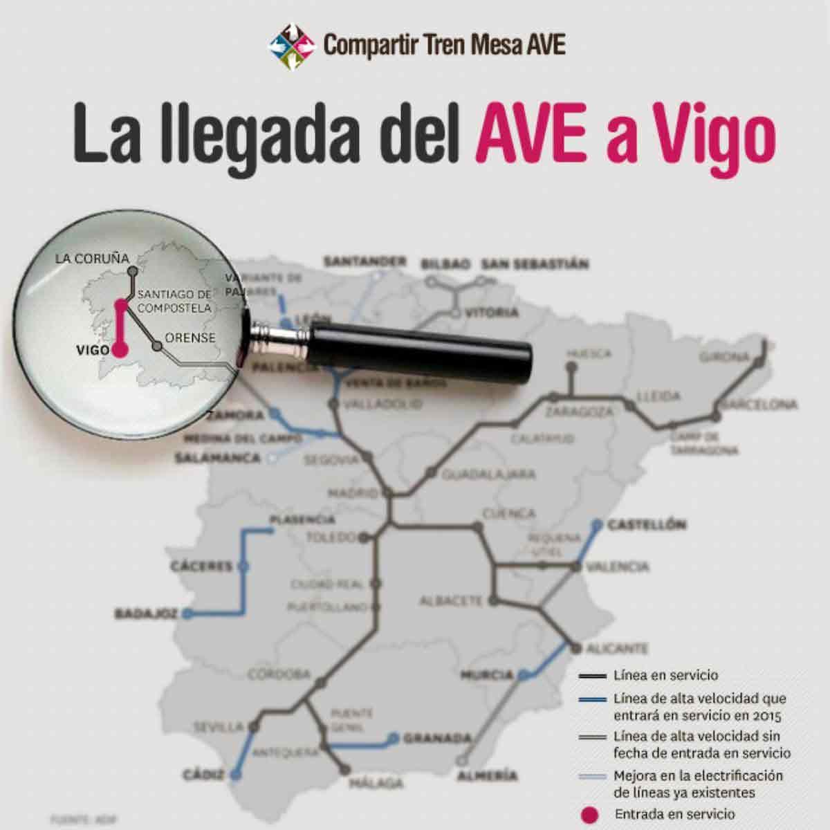 La llegada del AVE a Vigo en la estación de Urzáiz.