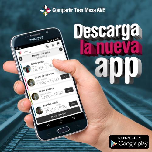 Comparte mesa AVE y ahorra con la nueva aplicación Compartir Tren Mesa AVE para Android.