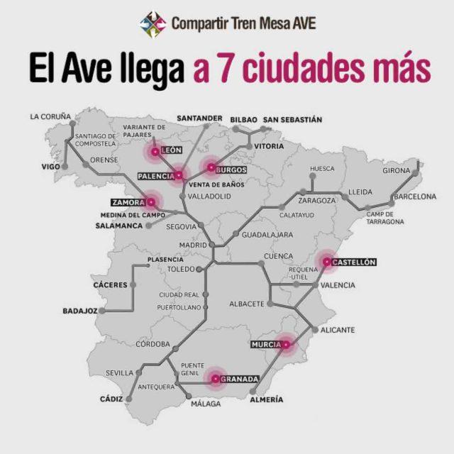 El AVE llegará a siete ciudades más antes de que acabe el año
