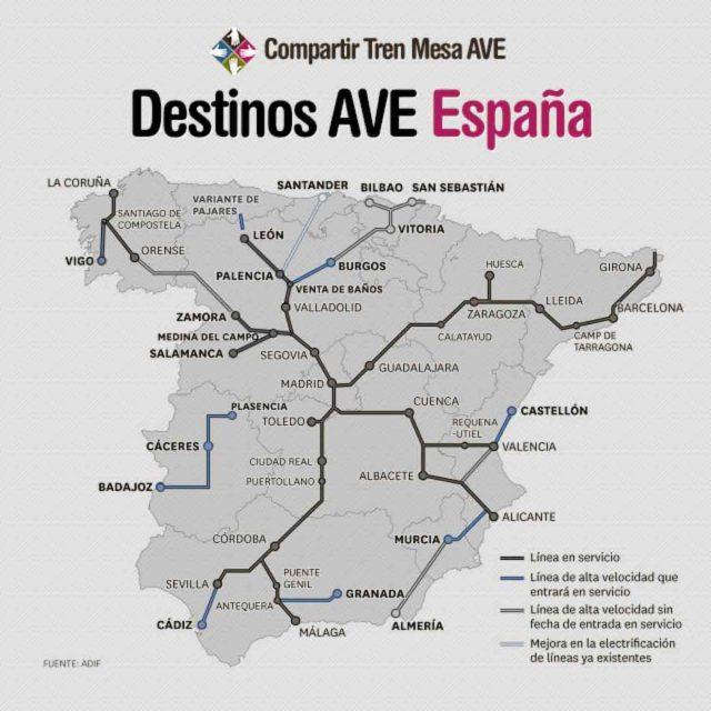 Destinos AVE abiertos en 2015 y nuevos destinos programados para 2016