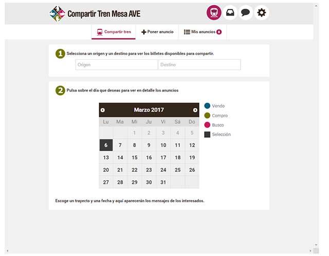 Cómo configurar las notificaciones de Compartir Tren Mesa AVE