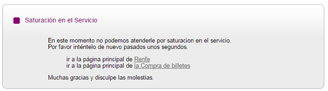 Detalle de la web de Renfe saturada con la promoción de billetes AVE 25 euros.