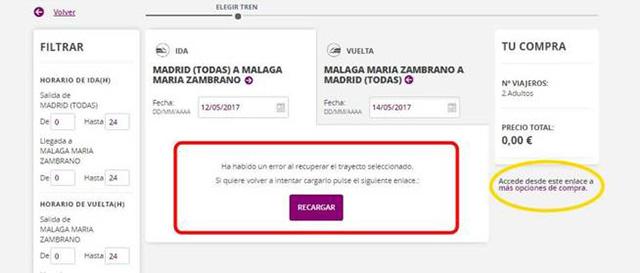 Cómo acceder a la compra de Billetes AVE a 25 euros sin que dé fallos entrando desde el link destacado en amarillo.