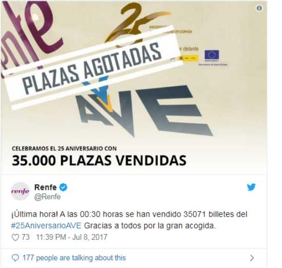 35.000 billetes vendidos a precios de 25 euros